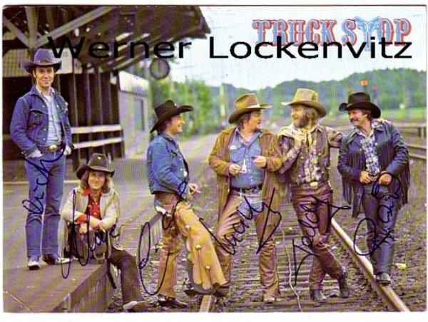 Ansichtskarte Autogrammkarte Truck Stop mit Originalautogrammen