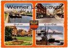 Ansichtskarte Emden Straße Binnenschiffe Park Kran