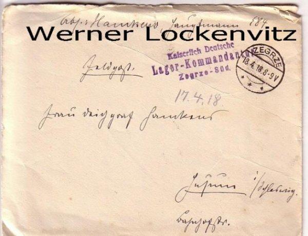 Polen Posen Zegrze Brief Kaiserlich Deutsche Lager Kommandantur Feldpost