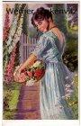 Ansichtskarte Junge Frau mit Blumen Gemälde von Maxim Trübe Rosen
