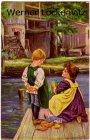 Ansichtskarte Kinder Puppenwäsche Gemälde sign. P. Wagner