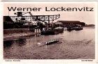 Ansichtskarte Karlsruhe Rheinhafen mit Binnenschiffen Kran und Ruderern