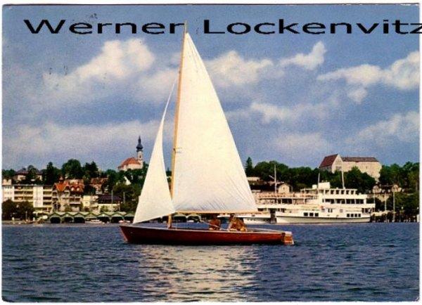 Ansichtskarte Starnberg am See Ortsansicht Panorama Blick vom See aus mit Segelboot