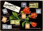 Ansichtskarte Briefmarken-Sprache Herz aus Rosen Serie Bedeutende Deutsche