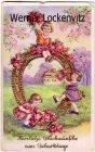 Ansichtskarte Herzliche Glückwünsche zum Geburtstage Zwei kleine Mädchen mit Hufeisen und Blumen
