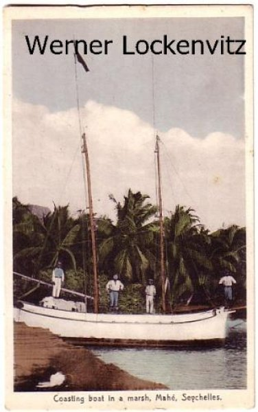 Seychellen Republic of Seychelles Coasting boat in a marsh Mahe Seychelles