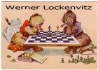 Ansichtskarte Schach zwei Bären spielen Schach