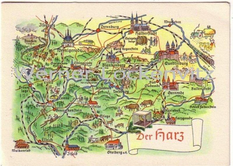 harz landkarte Ansichtskarte Sachsen Anhalt Der Harz Landkarte maps harz landkarte