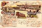 Ansichtskarte Rendsburg vom Kronwerk gesehen Drehbrücke Infanteriekaserne Landkarte Litho