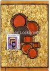 Drei Goldkreise im Vollkreis blau Maximumkarte 100. Geburtstag von Erich Buchholz Holzrelief