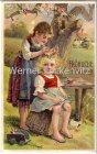 Alte Ansichtskarte Fröhliche Pfingsten Zwei Mädchen Blumenkranz Prägedruck