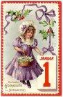 Ansichtskarte Die besten Glückwünsche zum Jahreswechsel Mädchen mit Blumen Prägedruck
