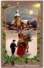 Ansichtskarte Fröhliche Weihnachten Familie kommt aus der Kirche