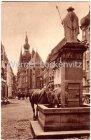 Alte Ansichtskarte 66606 St. Wendel Alt-St. Wendel Blick auf den Dom am Wendelinusbrunnen Pferde trinken Saar