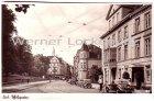 Ansichtskarte Kiel Schloßgarten mit Holsts Hotel Blick in die Dänische Straße Straßenbahn