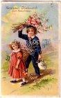 Ansichtskarte Herzlichen Glückwünsch zum Geburtstage Zwei Kinder kommen vom Blumenpflücken Prägedruck