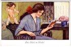 Ansichtskarte Das Glück im Winkel junge Frau liest ein Buch Amor schießt mit Pfeil auf sie Frauen