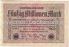 Banknote Fünfzig Millionen Mark Reichsbanknote von 1923
