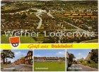 Ansichtskarte Büdelsdorf bei Rendsburg Panorama Ortsansicht Schwimmbad Alte Dorfstraße Hollerstraße