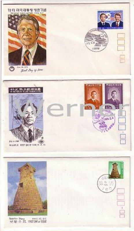 Korea Erstagsbrief FDC 3 x Jimmy Carter President Park Dauerserie