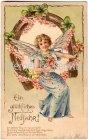 Ansichtskarte Ein glückliches Neujahr Engel im Hufeisen Prägedruck