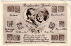 Ansichtskarte Briefmarken-Sprache Frauen Liebespaar Herz Serie Heuss