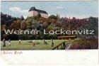 Ansichtskarte Freital Schloss Burgk mit Bauern bei der Ernte