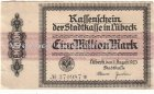 Kassenschein der Stadtkasse Lübeck Eine Million Mark