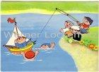 Ansichtskarte Die Mainzelmännchen angeln Schiff Ahoi Comic Humor