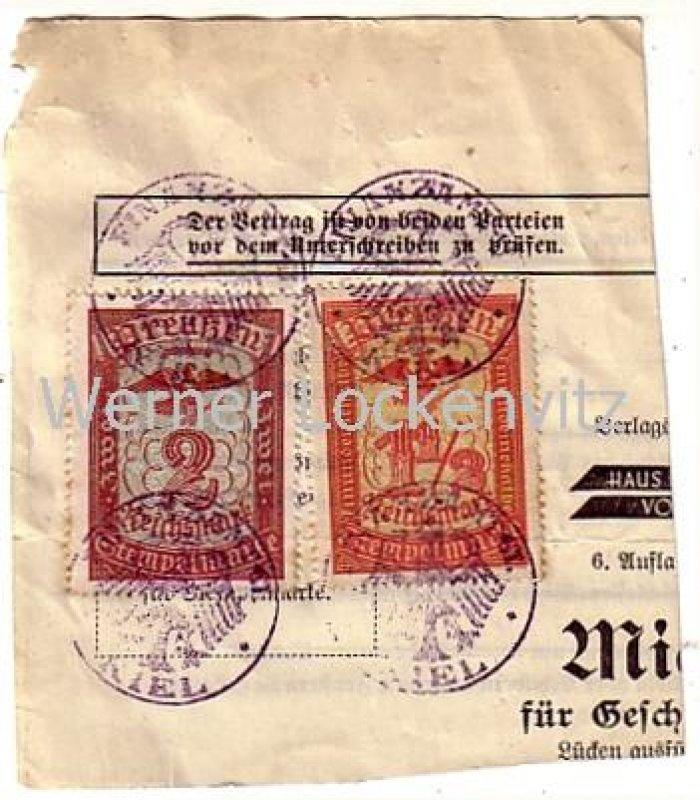 Kiel Finanzamt Zwei Stempelmarken Preußen