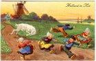 Ansichtskarte Holland in Not Ziegenbock verfolgt Leute