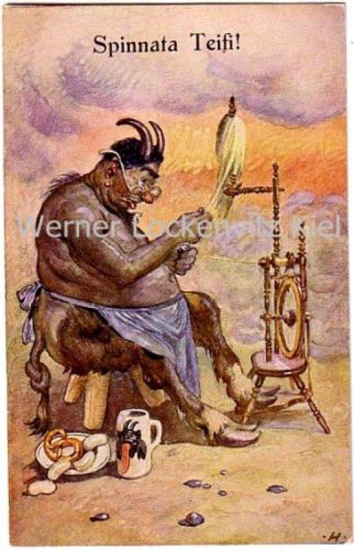 Ansichtskarte Teufel mit Spinnrad Spinnata Teifi!