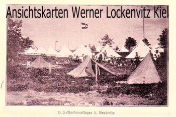 Ansichtskarte H.J.-Nordmarklager II Brahmsee bei Nortorf mit Landpoststempel