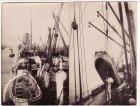 Lettland Transportflotte im Hafen von Libau und S.M.H. Buenos Aires Pferdeboot