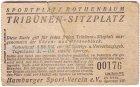 Eintrittskarte Sportplatz Rothenbaum Hamburg Tribünen-Sitzplatz 2.-Reichsmark Hamburger Sport-Verein e.V.