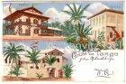 Ansichtskarte Tansania Deutsch-Ostafrika Gruss aus Tanga Bahnhof und Fort Boma Litho
