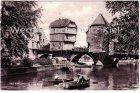 Ansichtskarte Bad Kreuznach Alte Brückenhäuser mit Ruderern