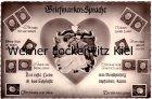 Ansichtskarte Briefmarken-Sprache Liebespaar Briefmarkensprache mit Heuss III Marken