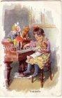 Ansichtskarte Mädchen mit Puppe Teddy und Kasper beim Klavierspielen sign. K.Feiertag