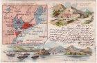 Ansichtskarte China Kiautschou Fort Hafen-Einfahrt Landkarte Litho