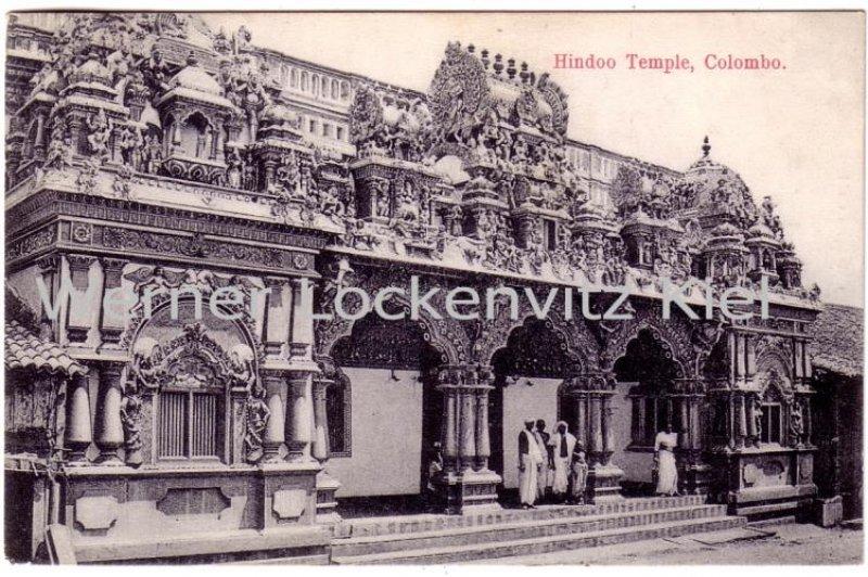 Vintage Postcard Hindoo Temple Colombo Sri Lanka Ceylon