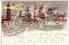 Ansichtskarte Berlin Gewerbe-Ausstellung Marine-Schauspiele 1896 mit Sonderstempel Litho