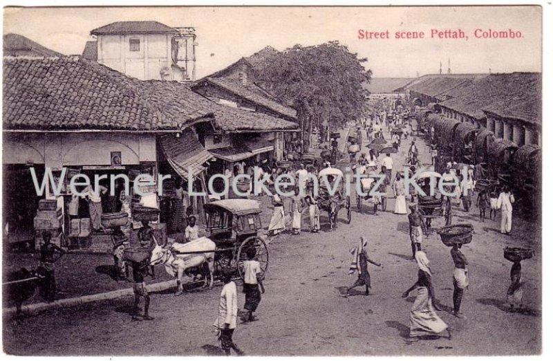 Vintage Postcard of Sri Lanka Colombo Street scape Pettah