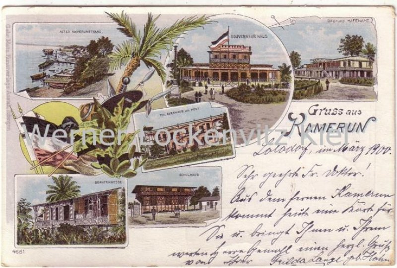 Ansichtskarte Gruss aus Kamerun Beamtenmesse Litho Lolodorf Stempel Kribi