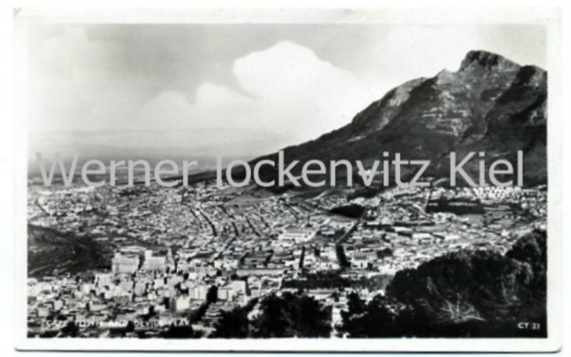 Postcard of Capetown cityscape with Devils Peak