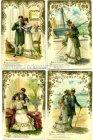 Ansichtskarten Liebespaar Zwei dunkle Augen 4 Karten goldumrandet