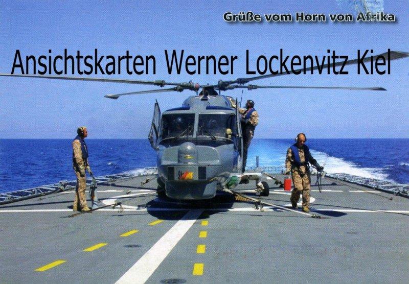 Ansichtskarte Bundeswehr Grüße vom Horn von Afrika Flugvorbereitung am Sea Lynx Djibouti