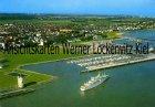 Ansichtskarte Cuxhaven Neue Seebäderbrücke mit Jachthafen Luftbild