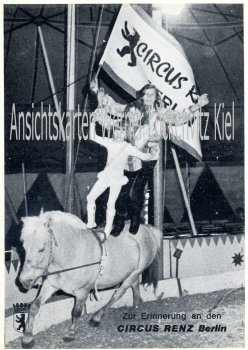 Circus Renz Berlin Ritt auf einem Pferd Werbekarte Zirkus