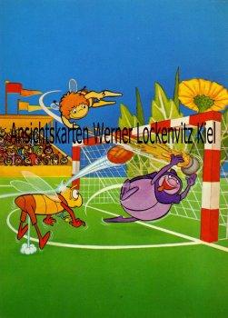 Ansichtskarte Comic Biene Maja spielt Fußball